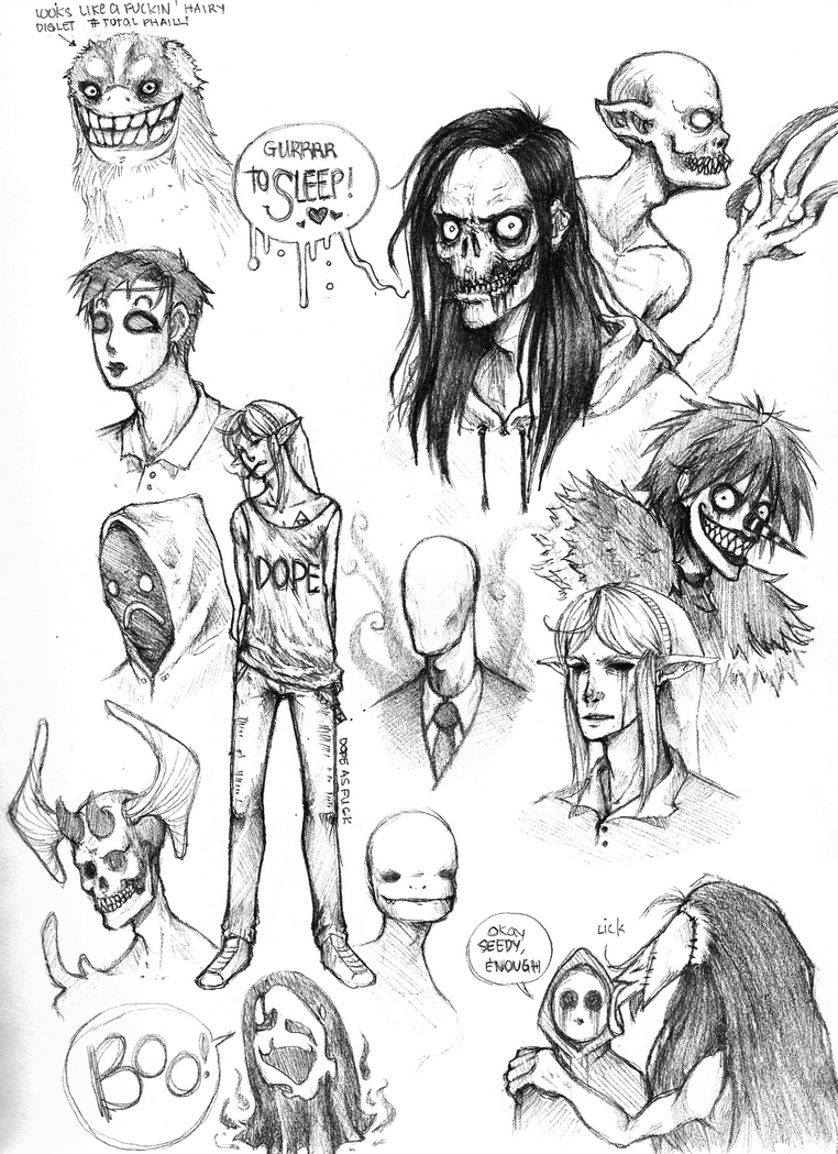 Creepypasta Doodles 2 by SUCHanARTIST13