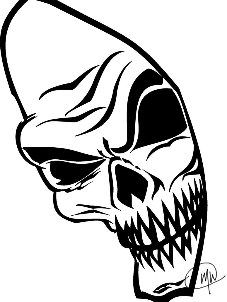 Skeleton Face Line Drawing : Skeleton face digital version by azahgal