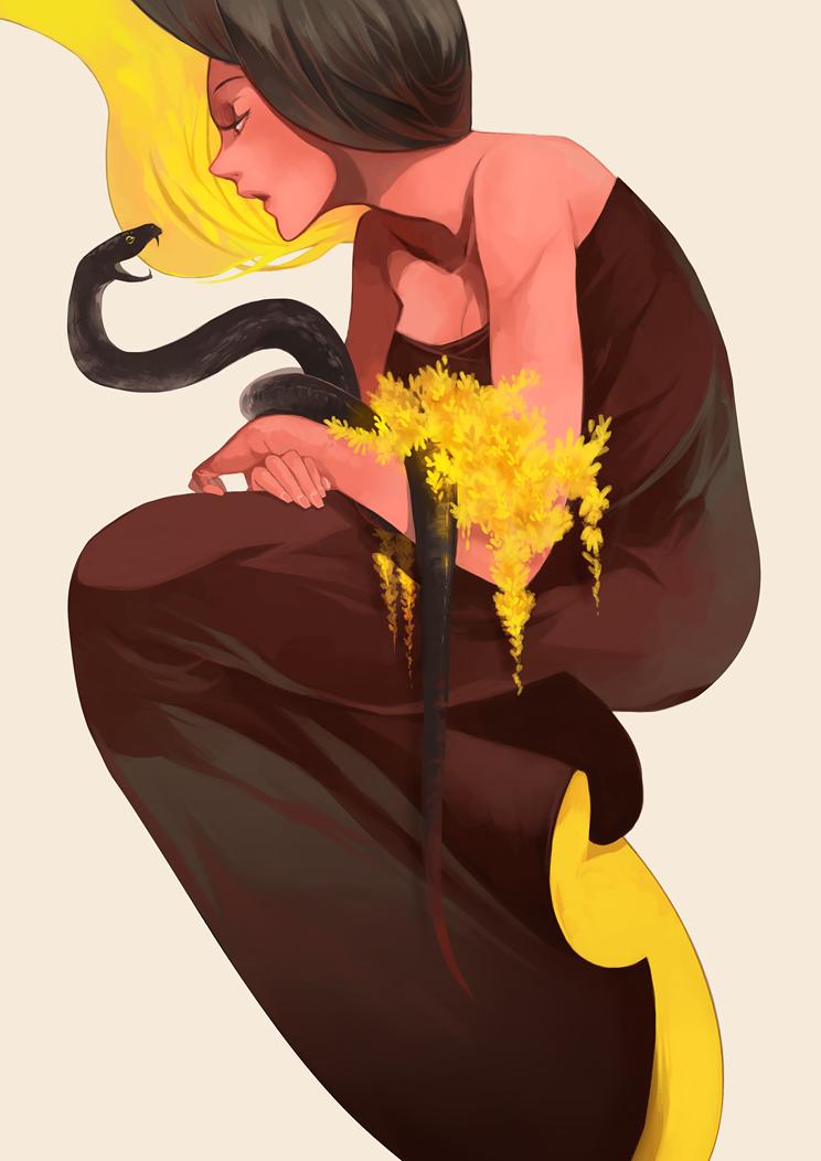 Snake and Girl by moosmic