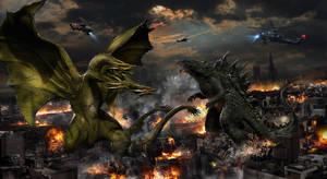 Godzilla vs Ghidorah WIP by uncannyknack