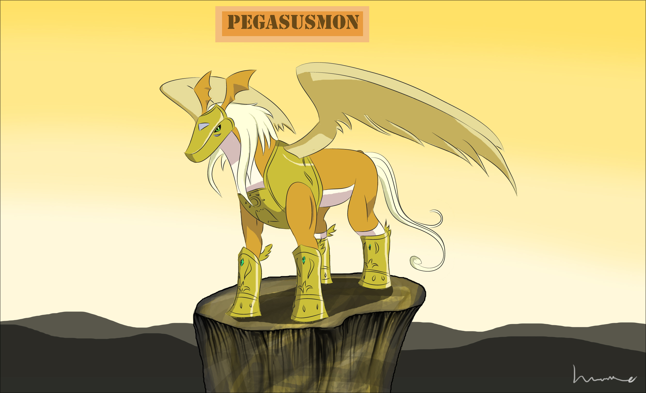 Pegasusmon - Flying Hope by Louisetheanimator