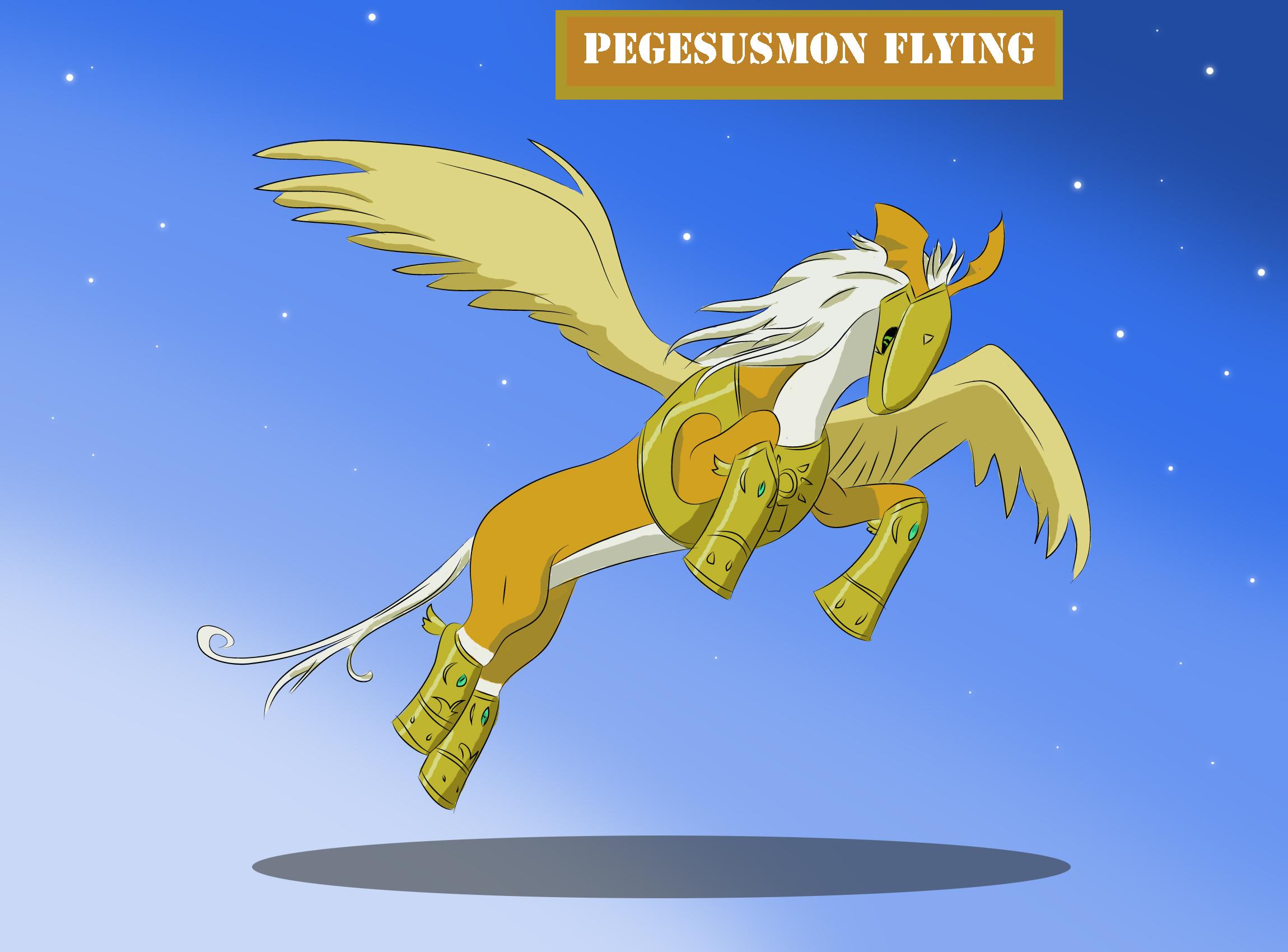 Pegasusmon Flying by Louisetheanimator