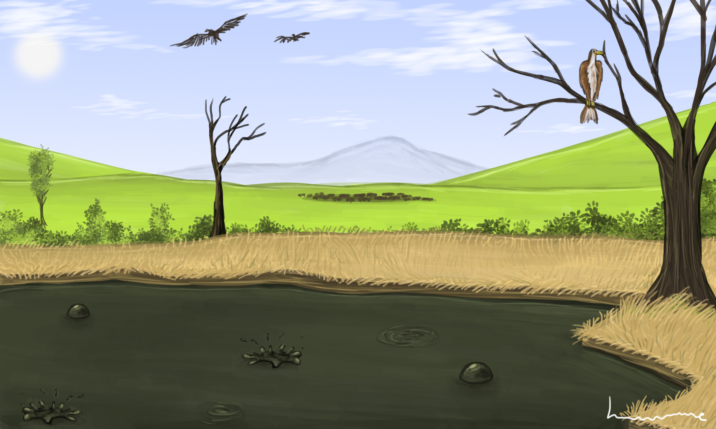 Tar pit in the Past by Louisetheanimator