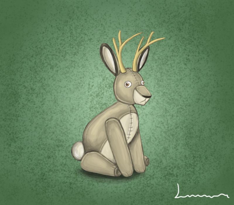 Jackalope plush by Louisetheanimator