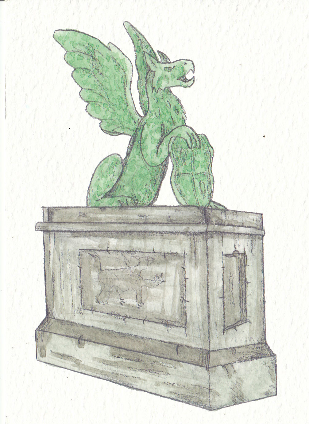 Gryphon Statue by Louisetheanimator