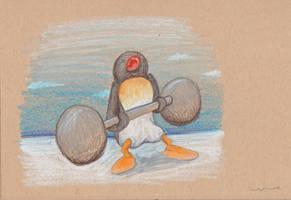 Pingu Lifting Weights by Louisetheanimator