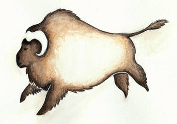 Buffalo Cave Painting by Louisetheanimator