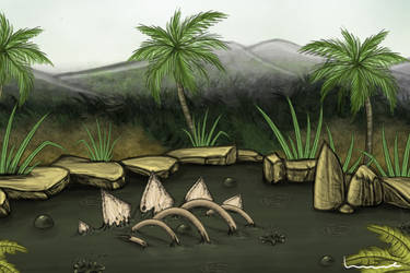 Tar Pit with Dino Bones by Louisetheanimator