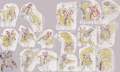 Kyubimon Sketches by Louisetheanimator