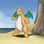 Dragonite on the Beach by Louisetheanimator