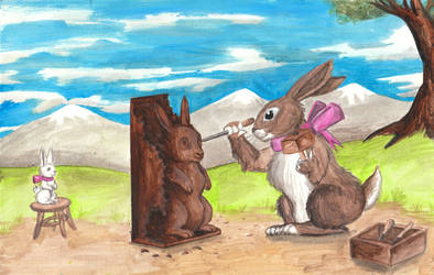 Easter Bunny Carving Chocolate Bunny