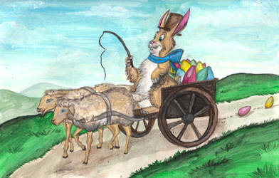 Easter Bunny Driving Lambs