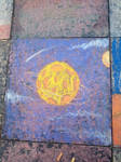 Ringed Cheese Moon Patio Chalk Drawing by Louisetheanimator