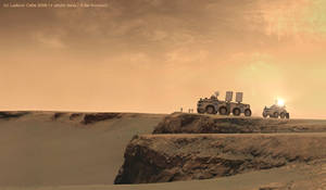 Mars rovers near a crater