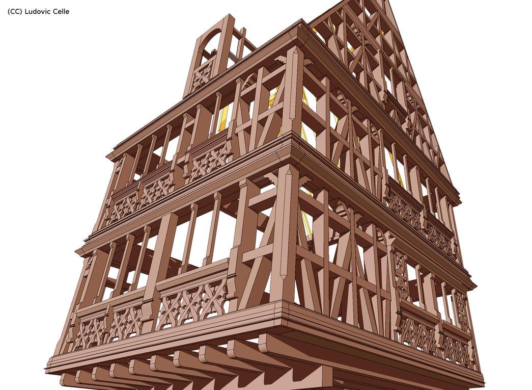 maison pans de bois structure by ludo38 on deviantart. Black Bedroom Furniture Sets. Home Design Ideas