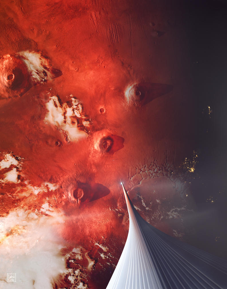 The Space Elevator to Mars - Descent At Dusk by Ludo38