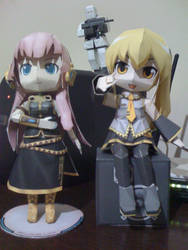 Luka and Akita Neru from Vocaloid papercraft