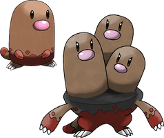 Diglett and Dugtrio (Surface Forms)