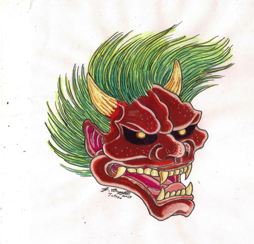 Oni tattoo design by Punch-line-designs