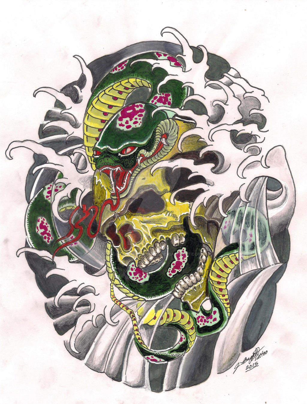 Traditional japanese snake and skull tattoo design by for Traditional japanese tattoo rules