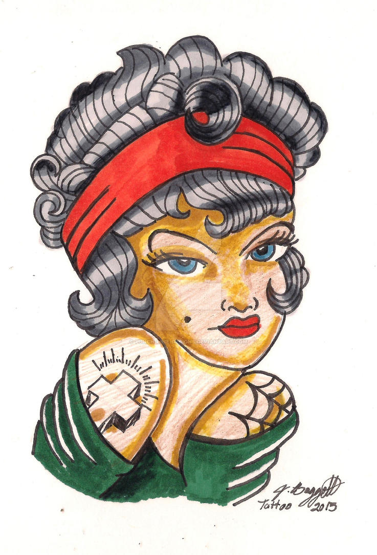Chicano Girl Old School Tattoo Design by Punch-line-designs