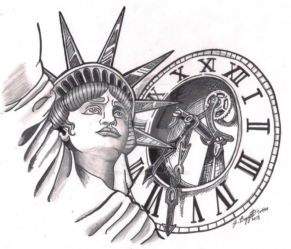 Tattoo Designs Time: Liberty And Time Tattoo Design By Punch-line-designs On