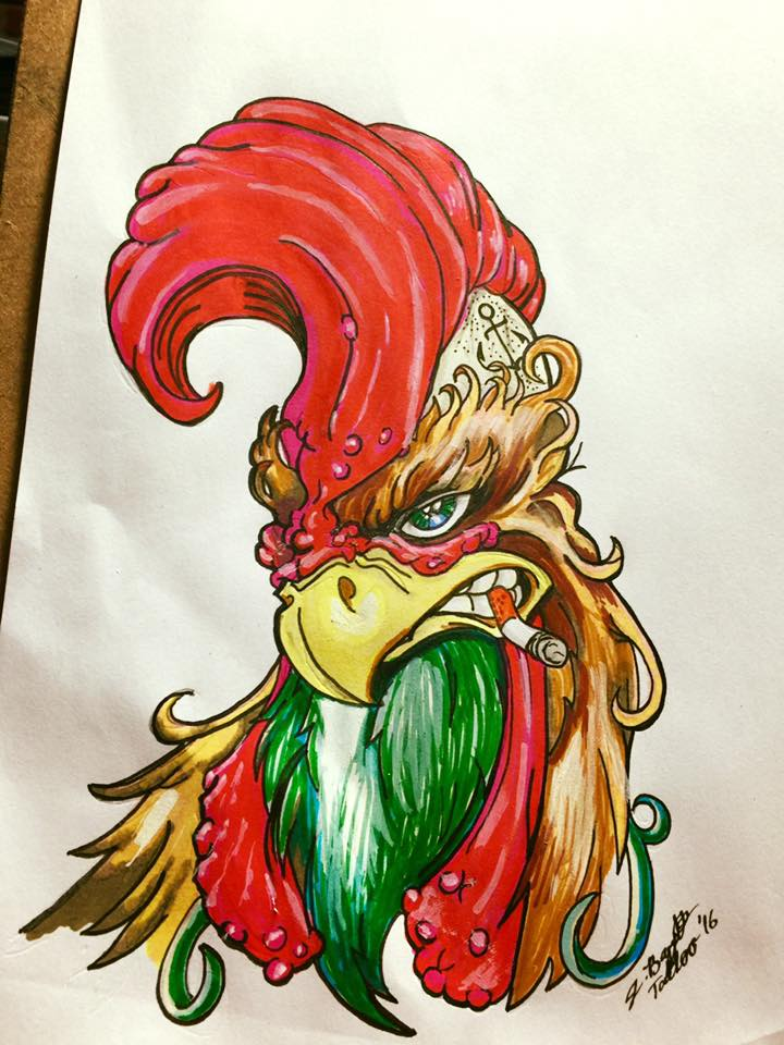 Badass Rooster Tattoo Flash by Punch-line-designs