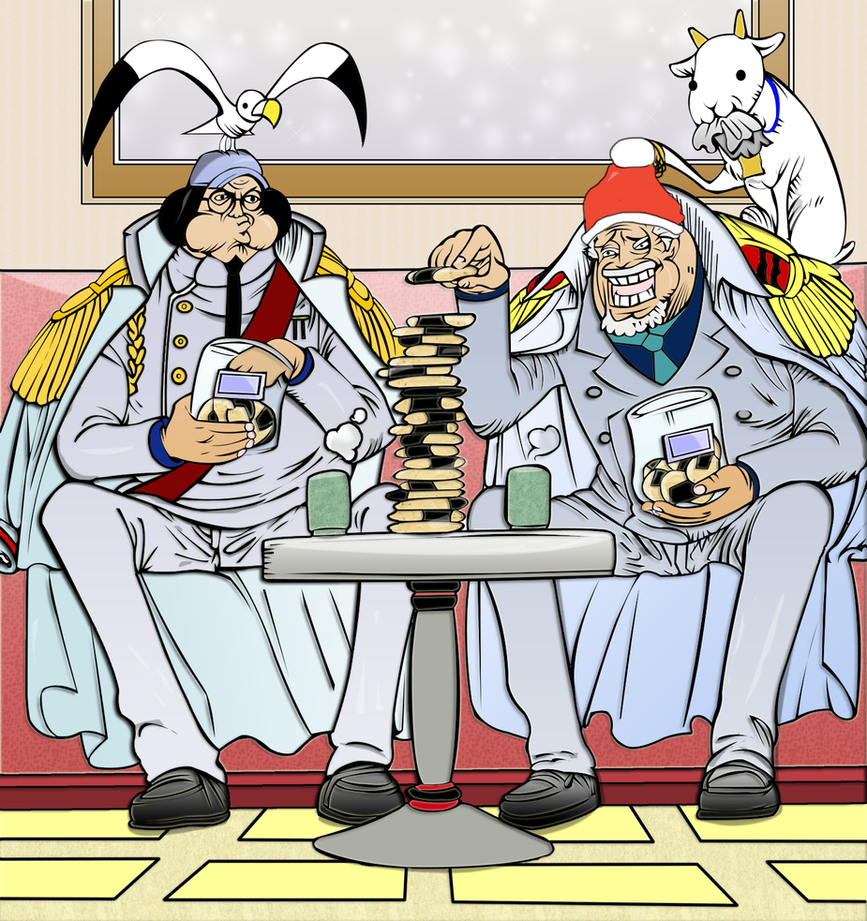 Christmas Party Sangoku and Garp One Piece by AlbiKai