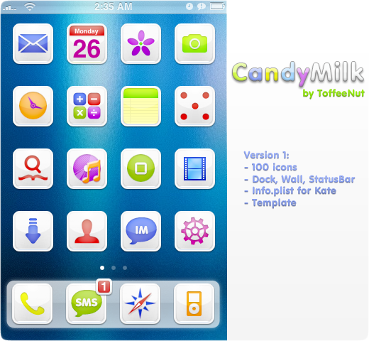 CandyMilk: iPhone Theme by ToffeeNut