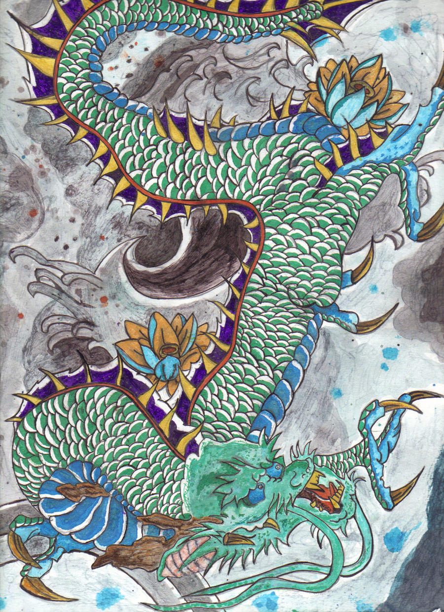 Japanese dragon by inkvengeance on deviantart for Japanese dragon painting