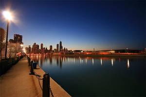 Chicago Night Skyline by woodsj6