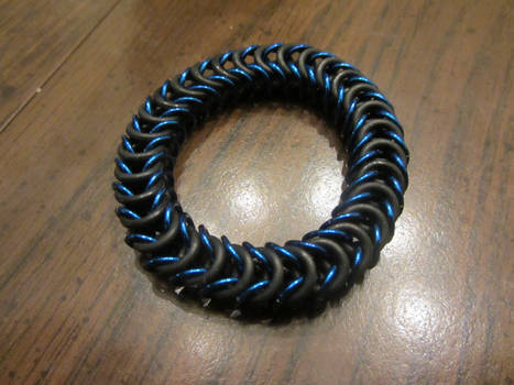 Blue Stretchy Box Weave Bracelet