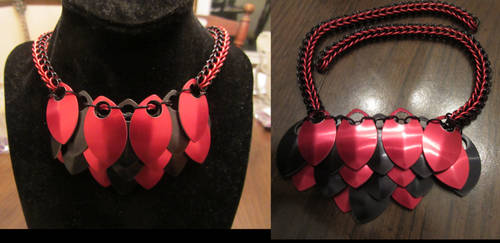 Red and Black Scale Necklace