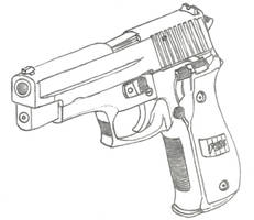 Sig Sauer P226 Drawing by Fewes