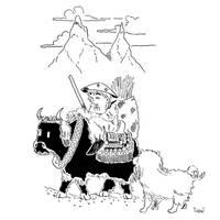 Young monk, yak and foo dog