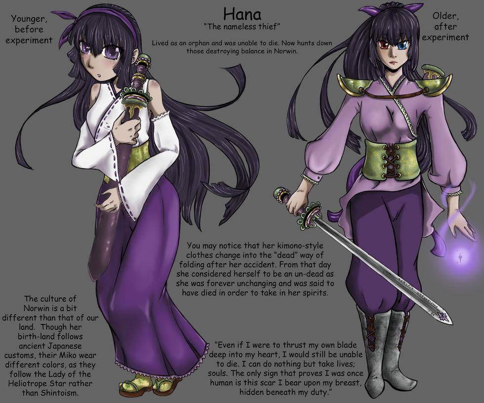 Hana Character Design 3/4 by NekohimeKagepuma