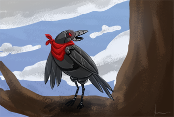 Magpie Drone Card Illustration by jesyikaturner