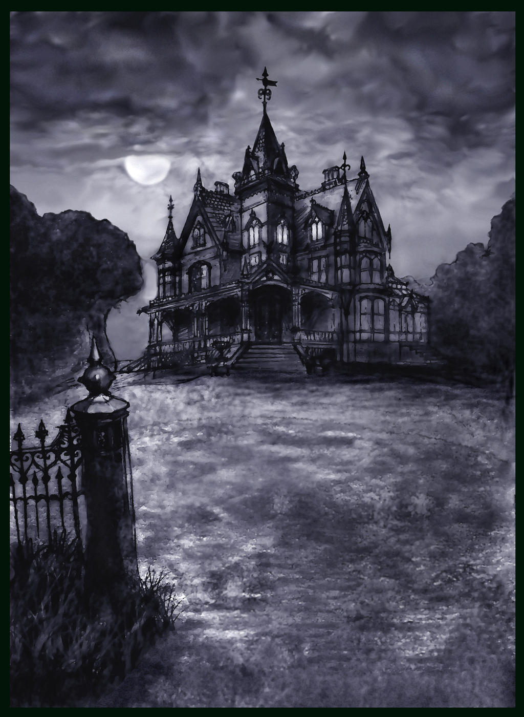 CastShadowsStudio Victorian Gothic Dream House Stormy Moon By