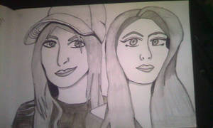 Ginger and Michela pencil drawing