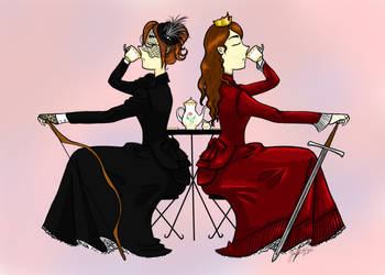 Teatime with Queen Azi and Lady Asabat by AzizrianDaoXrak