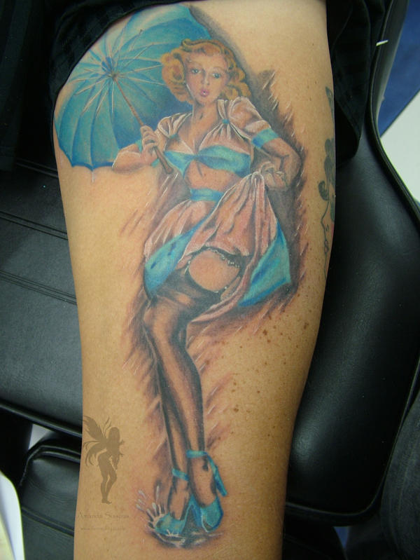 pinup tattoo. In the Rain, Pin up Tattoo by
