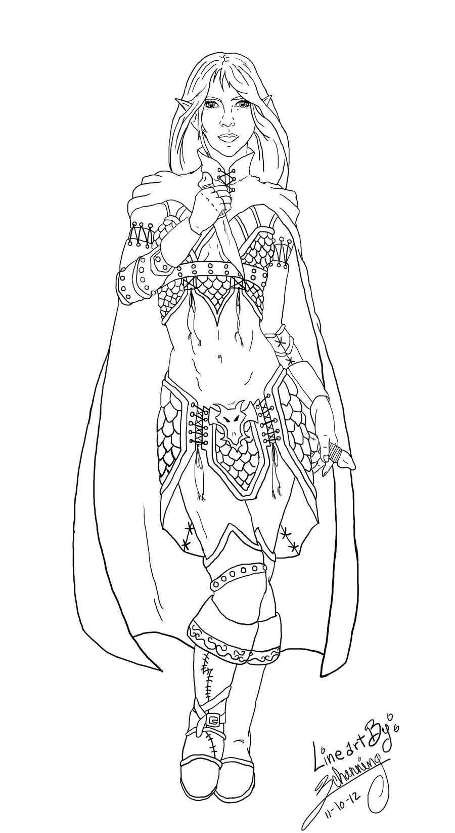Half Elf Rogue Lineart by Zchanning
