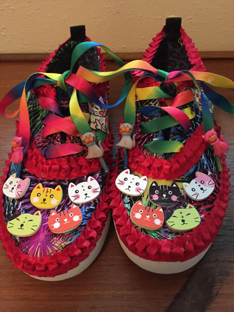 Custom cat rainbow shoes by Zchanning