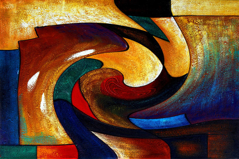 Abstract modern wall deco art photos oil painting by for Art deco colours for painting