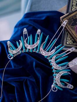 Moon Goddess blue gemstones halo crown