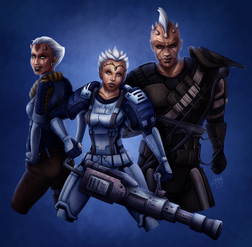 SWToR - Commission - Imoshi, Neehowe and Kontanbu by JoJollyArt