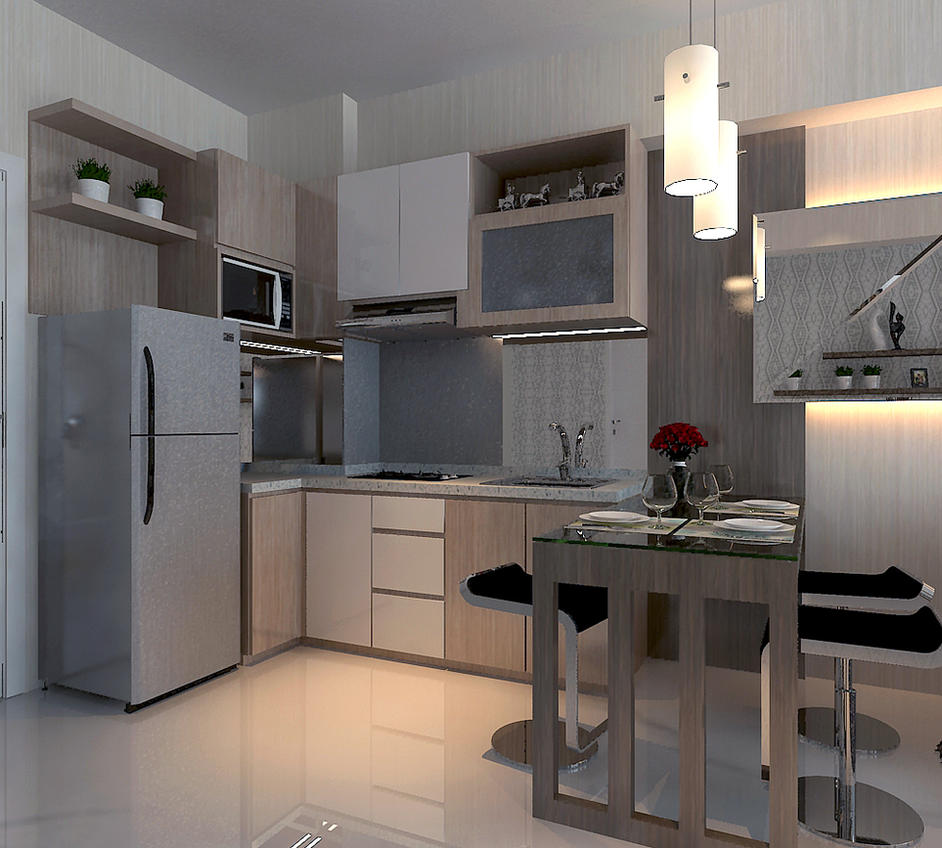 Design interior kitchen set apartment surabaya by akinteriors on