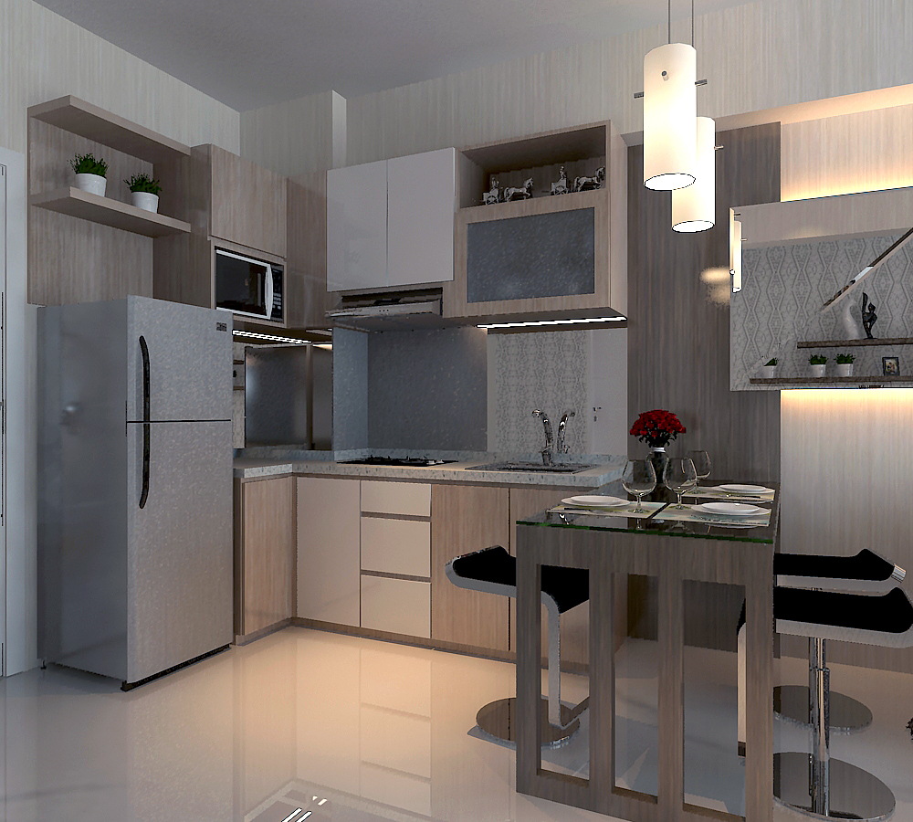 design interior kitchen set apartment surabaya by