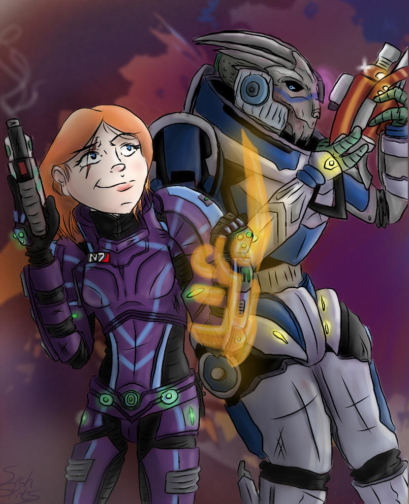 WC1 - Shepard and Garrus by Hazeloop