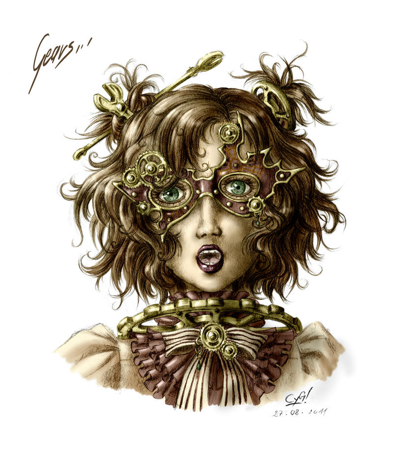 Steampunk Gear Drawing Steampunk Gears Masked Girl by